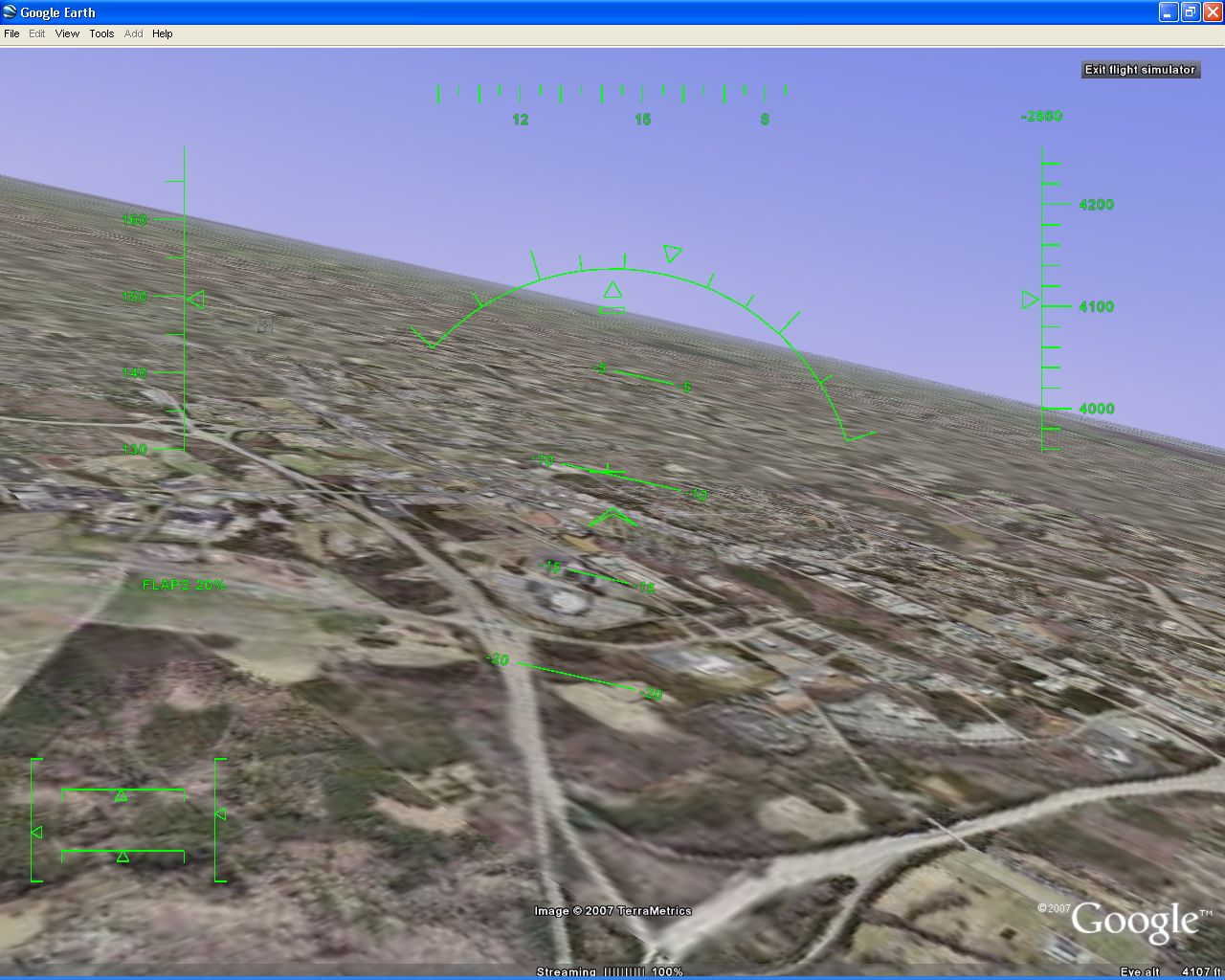 how to open flight simulator in google earth